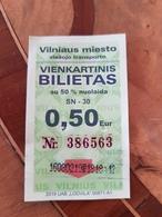 Lithuania One Way Bus Tickt Vilnius 2019 - Europa