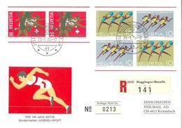 """R FDC  """"Jugend + Sport - 100 Jahre Satus, Magglingen""""           1974 - Svizzera"""