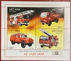 VIETNAM VIET NAM 2000 - FIRE ENGINES FIREMEN FIREMAN SAPEURS POMPIERS TRANSPORT CARS SHEET BLOC BLOCK MNH - Sapeurs-Pompiers