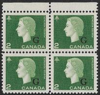 Canada SG O209 1963 Official 2c Unmounted Mint Block Of 4 [3/2603/D] - Sobrecargados