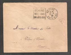 Enveloppe  Oblit  Daguin   BEAUNE   SES VINS  1929  Au Dos   Oblit Chalons S Marne - Non Classificati