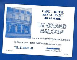 Carte De Restaurant LE GRAND BALCON Douai 59 - Cartes De Visite