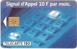 """TC067 TÉLÉCARTE 120 - PUBLICITÉ POUR L'OPTION """"SIGNAL D'APPEL 10F PAR MOIS"""" - CLAVIER TÉLÉPHONIQUE - Telecom Operators"""