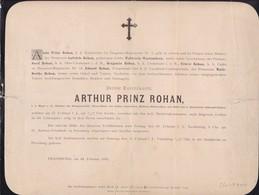 PRESSBURG Arthur Prinz ROHAN 1885  59 Ans Major Famille WALDSTEIN-WARTEMBERG Faire-part Plus Grand Que A4 - Décès