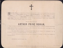 PRESSBURG Arthur Prinz ROHAN 1885  59 Ans Major Famille WALDSTEIN-WARTEMBERG Faire-part Plus Grand Que A4 - Todesanzeige