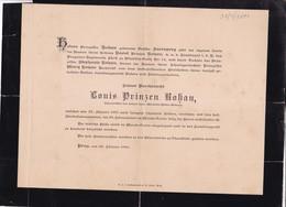 PRAG PRAGUE Louis Prinzen ROHAN 1891 58 Ans Famille AUERSPERG - Décès