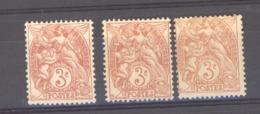 France  :  Yv  109f  *   Type IA , 3 Teintes - 1900-29 Blanc