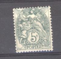 France  :  Yv  111c  *   Type IA  ,  Vert  Bleu - 1900-29 Blanc