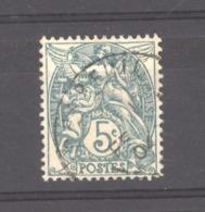 France  :  Yv  111e  (o)   Type IB  ,  Vert  Bleu - 1900-29 Blanc