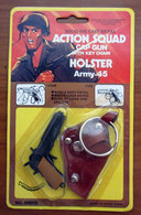 ACTION SQUAD SOLID DIE CAST METAL CAP GUN WITH KEY CHAN HOLSTER ARMY 45 BLISTER - Giocattoli Antichi