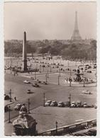 1819/ PARIS. Pl. De La Concorde Et Tour Eiffel (voitures, Cars, Macchine).- Circulée D'Oxford En Espagne En 1957. - Francia