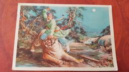 """CHINA. """" Wu Song Killing Tiger""""  By Jin Sue_chan -  - Old PC 1960s -from Water Margin (Shui Hu Zhuan) - China"""
