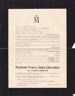 OLLIGNIES Flore LEQUOIN Veuve Jules CHEVALIER  1862-1937 Faire-part JOURET FROIDURE RIGAUX CARLIER - Obituary Notices