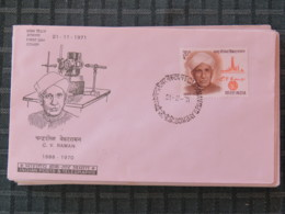 India 1971 FDC Cover - C. V. Raman - Physics Nobel Price - Refugee Tax Stamp On Back - India