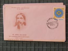 India 1972 FDC Cover - Sri Aurobindo Ghose And Sun - Refugee Tax Stamp On Back - India