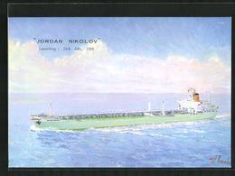 Künstler-AK Handelsschiff M.S. Jordan Nikolov Auf Hoher See - Cargos