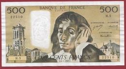 """500 Francs """"Pascal"""" Du 04/01/1969.E----VF/SUP-----ALPH H.5---COUPURE A 12HEURE -5MM - 1962-1997 ''Francs''"""