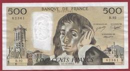 """500 Francs """"Pascal"""" Du  05/10/1978.E---VF/SUP-----ALPH B.92 - 500 F 1968-1993 ''Pascal''"""
