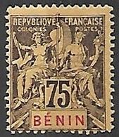 Benin   1894   Sc#44  75c  MH  2016 Scott Value $32.50 - Nuevos