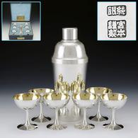 Early Japanese Sterling Silver Gilt Liquor Utensil 7 Piece Set Miyamoto Firm - Oriental Art