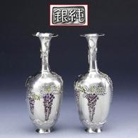 Japan's Meiji(1868--1912) Period Sterling Silver Grape Rattan Vase - Oriental Art