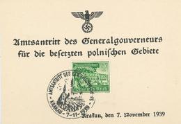Krakau WHW Amtsantritt Des Generalgouverneurs Krakau 7.11.1939 Sonderstempel - Besetzungen 1938-45