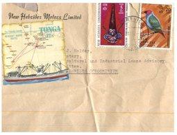 (D 9) Cover - New Hebrides (now Called Vanuatu) 1 Cover - 1970's + TONGA Ship & Map Stamp - Tonga (1970-...)