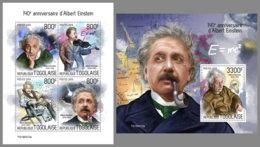 TOGO 2019 MNH Albert Einstein M/S+S/S - IMPERFORATED - DH1933 - Albert Einstein