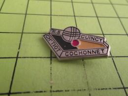 512d Pin's Pins / Rare Et  Belle Qualité !!! THEME : SPORTS / PETANQUE A.S. QUINCY CH'TIOT COCHONNET - Pétanque