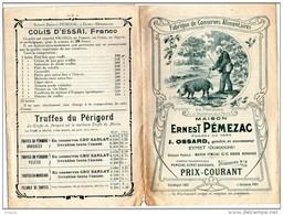 Dépliant Ancien Publicitaire Tarifs Truffes Truffe Cru Sarlat Agen Eymet Dordogne Périgord Commerce Pémezac Ossard - France