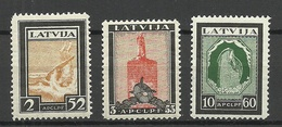 LATVIA 1933 Michel 215 - 217 A * - Lettland