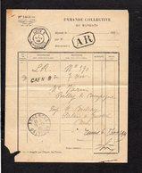1919 Demande Collective De Mandats / CAD Recette Auxiliaire Urbaine Caen B Sur Semeuse Pour Argences En A.R. - Marcophilie (Lettres)