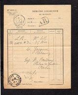 1919 Demande Collective De Mandats / CAD Recette Auxiliaire Urbaine Caen B Sur Semeuse Pour Cabourg En A.R. - Marcophilie (Lettres)