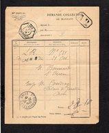 1919 Demande Collective De Mandats / CAD Recette Auxiliaire Urbaine Caen B Sur Semeuse Pour St Ouen Sur Seine En A.R. - Marcophilie (Lettres)
