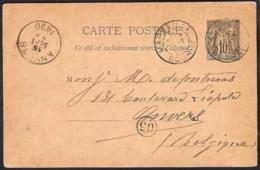 FRANCE 1890 Entier Postal Yvert 89-CP3 Envoyé 1902 Marcq-en-Baroeil (Nord) - Bruxelles - Entiers Postaux