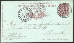 ITALY 1890 Postal Stationery Mi. P 13 From GENOVA To Brussels (belgium) - Entiers Postaux