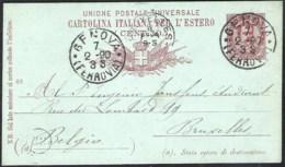 ITALY 1890 Postal Stationery Mi. P 13 From GENOVA To Brussels (belgium) - 1878-00 Umberto I
