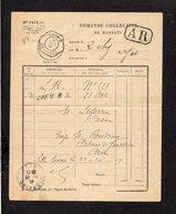 1919 Demande Collective De Mandats / CAD Recette Auxiliaire Urbaine Caen B Sur Semeuse Pour Caen En A.R. - Marcophilie (Lettres)