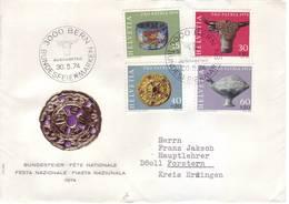 Svizzera 1974 - Archeologia, 4v Su Lettera Viaggiata. Annullo Figurato - Pro Patria