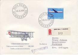 Svizzera 1969 - FDC Cinquantenario Posta Aerea, Raccomandata - Storia Postale