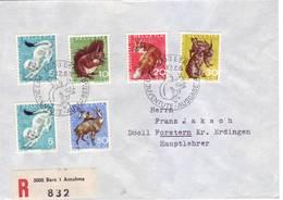Svizzera 1966 - Fauna Locale, Su Raccomandata - Storia Postale