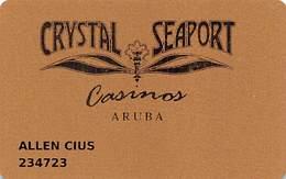 Crystal & Seaport Casinos - Aruba - Slot Card - Smaller 3cm Wide Casinos In Front Logo ....[FSC]..... - Casino Cards