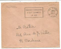 LETTRE SECAP DONNER SON SANG PP 30.1.1967 PARIS COURONNE INVERSEE - Marcophilie (Lettres)