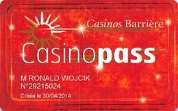 Casinos Barriere Paris France Casinopass / Slot Card   .....[FSC]..... - Casino Cards