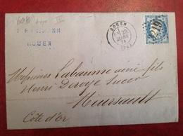 60B Type II Rouen A Meursault Via Auxerre Hartmann - Marcophilie (Lettres)