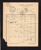1919 Demande Collective De Mandats / CAD Recette Auxiliaire Urbaine Caen B Sur Semeuse Pour Fleury Sur Orne En A.R. - Handstempel