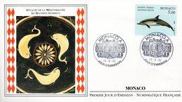 """"""" CETACES DE LA MEDITERRANEE : DAUPHIN COMMUN """" Sur Enveloppe 1er Jour De 1992. N° YT 1821. Parfait état - Dolphins"""