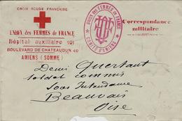 1915- WWI - Enveloppe En F M  Croix Rouge Française - Hôpital Auxiliaire  101  / AMIENS ( Somme ) - Marcophilie (Lettres)