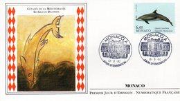 """"""" CETACES DE LA MEDITERRANEE : LE GRAND DAUPHIN """" Sur Enveloppe 1er Jour De 1992. N° YT 1822. Parfait état - Dolphins"""