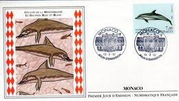 """"""" CETACES DE LA MEDITERRANEE : LE DAUPHIN BLEU ET BLANC """" Sur Enveloppe 1er Jour De 1992. N° YT 1823. Parfait état - Dolphins"""
